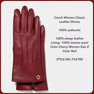 Coach Women Classic Sheep Leather Cherry Gloves🍒